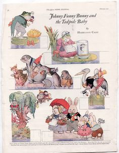 Vintage Johnny Funny Bunny Tadpole Baby Cut Outs Story 1921 Harrison Cady   eBay
