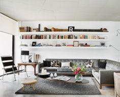 Living room layout. High shelves
