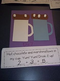 hot chocolate addition…could be adapted for multiplication…Class Christmas Party! hot chocolate addition…could be adapted for multiplication…Class Christmas Party! Preschool Math, Kindergarten Classroom, Fun Math, Teaching Math, Math Activities, Winter Activities, Teaching Ideas, Kindergarten Addition, Preschool Winter