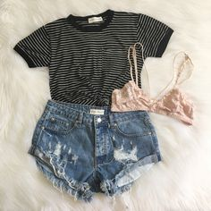 Stripe Pocket Ringer Tee, Celina Bralette & Sonya Denim Shorts Shop this… Spring Outfits, Trendy Outfits, Fashion Outfits, Womens Fashion, Womens Clothing Stores, Clothes For Women, Passion For Fashion, Dress To Impress, Style