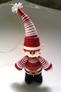 elf from paper quilling strips