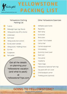 This list of things to take on a trip to Yellowstone National Park includes a Yellowstone packing list, what to wear in Yellowstone in summer, and other Yellowstone packing essentials. Yellowstone Camping, Yellowstone Vacation, West Yellowstone Montana, Us National Parks, Grand Teton National Park, Yellowstone Nationalpark, Vacation Trips, Vacations, Vacation Ideas