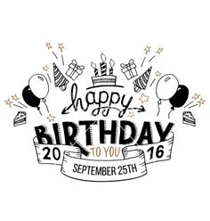 Happy birthday greeting card hand lettering vector