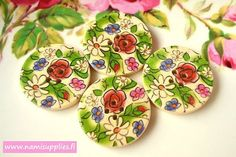 ON SALE 30 Wood buttons 30 mm Painted Wooden by NamiSupplies, €1.19