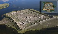 At first glance the rectangular island of Por-Bajin looks like a fortress or a prison, with its regular structure and ruined sections but some said it is  was a summer palace or monastery.
