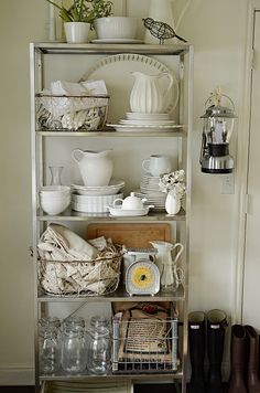 Exceptionally Eclectic - Home Made Happy Tour - Lisa Taylor - Exceptionally Eclectic - Home Made Happy Tour Kitchen Shelves Cabinet Whitewashed Chippy Shabby Chic French Country Rustic Swedish decor idea - Cozinha Shabby Chic, Shabby Chic Kitchen, Shabby Chic Homes, Shabby Chic Decor, Vintage Kitchen, Kitchen Decor, Kitchen Ideas, Kitchen Cabinet Shelves, Country Kitchen Cabinets
