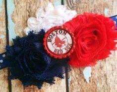BOSTON RED Sox MLB Baseball shabby flower headband Baby Little Girl Hair Bow - Photo Prop