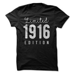 1916 Limited Edition B-day 100th Birthday T-Shirt Tee Shirt T Shirt Mens Ladies Womens Birthday Our unisex t shirt print on high quality , Each tee is made to order using a super-comfy soft 100% ring spun cotton easy to wear that looks and feels great on men and women.  Size Chart (Please see photo) ... ---PAYMENT--- Payment can only be made via PayPal. Thanks for looking and order with us.   ***NOTE***  Tablet and smart phone users: please indicate size or color in notes at checkout if…