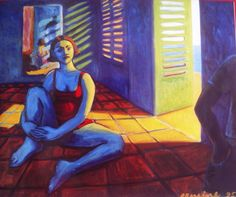 La jalouzie verte, oil on canvas, 100x 120cm, oil on canvas ©erminepoort