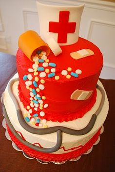These cakes are awesome! - Sweetaprils: Nursing School Graduation Party Ideas {From Sweets Indeed and more! Fancy Cakes, Cute Cakes, Pretty Cakes, Beautiful Cakes, Amazing Cakes, Nursing Graduation Cakes, Creative Cakes, Cakes And More, Let Them Eat Cake
