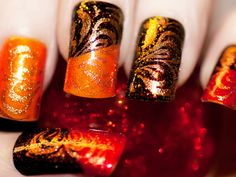Fall nails. #Halloween #Thanksgiving #nail #art