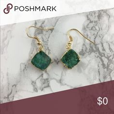 Druzy  Earrings Gorgeous green dangle square earrings, real druzy, perfect for the holidays, Material Content: No lead or nickel. No two druzys are alike and may vary slightly. Jewelry Earrings