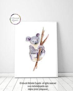 184e9872c09 Koala kunst, koala aquarel schilderij, giclee print, koala beer schilderij,  Australische dieren