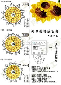 Crochet sunflower + diagrams v stitch lace free crochet stitch tutorial Bouquet Crochet, Crochet Puff Flower, Crochet Sunflower, Crochet Flower Tutorial, Crochet Diy, Sunflower Pattern, Crochet Flower Patterns, Crochet Flowers, Flower Pattern Design