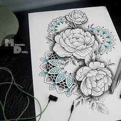 Картинки по запросу Mandala rose Flower sleeve