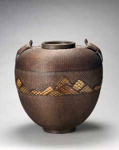 Jar-shaped flower basket with turtle decoration by Chikuryosai (Japanese) | ca. 1875 - 1925 |  Bamboo (madake variety) rattan, copper; pine needle