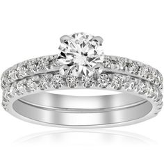 1 1/4ct Diamond Engagement Wedding Ring French Pave Set 14k White Gold Solitaire #diamondengagementrings