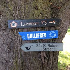 SuperWhoLock Wooden Directional Sign 3 Pack  Made by CurioObscurio...I NEED IT