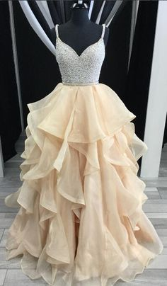 2018 prom dress, champagne long prom dress, straps champagne long graduation dress formal evening dress