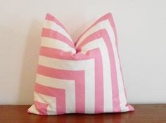 """FREE SHIPPING- SALE- Decorative Pillow Cover- Pink and White- Stripes- 18x18"""". $40.00, via Etsy."""