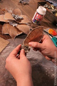 how to make a burlap flower christmas ornament video tutorial, crafts, decoupage, seasonal holiday decor, Attach leaves to your base I used some vintage Christmas ornaments I picked up at a yard sale Burlap Crafts, Christmas Projects, Holiday Crafts, Holiday Decor, Burlap Wreath, Burlap Decorations, Burlap Projects, Burlap Bows, Diy Crafts