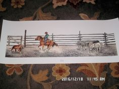 #art Rare Signed Print By SANDI DYER Singled Out 38 in X 14 1/2 in Cowboy Art please retweet