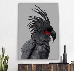 Wall art- Black Palm Cockatoo (A-227) Cockatoo, Cotton Canvas, Modern Art, Palm, Bird, Art Prints, Wall Art, Animals, Black