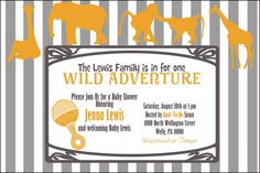 Zoo/Safari Baby Shower Invitation