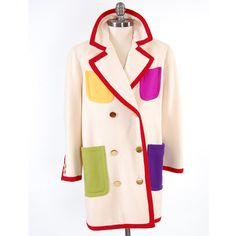 """Vintage 80s Color Block cream BILL BLASS mod blazer coat How great would this be with all the bright coloured pants that are """"In Fashion"""" this Fall/Winter  $67.00"""