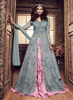 d683ae4e57f Buy Bluish Grey Umbrella Long Choli Lehenga online