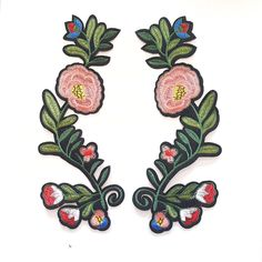 Beautiful large size pair of flowers patch that will be a perfect accessory to any apparel! Make any old apparel unique and fun with this simple iron-on patch Measurements of the patch are 7.5 x 22 cm