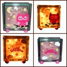Sweet Dreams Owl Night Light in Pink or Blue by SisterJsCreations, $30.00