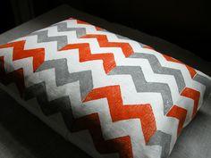 Tangerine and gray chevron hand printed lumbar size linen pillow case