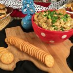 Cheeseburger Dip:  Cheeseburgers are an All-American favorite and definitely a favorite in our own homes! This recipe is a yummy twist on the usual cheeseburger and will have your party guests staying close by!   Ingredients: 1 pound ground beef or turkey, browned 1 cup shredded Monterrey Jack cheese 1 cup shredded sharp cheddar cheese ½ cup shredded parmesan cheese 1 (10.75-ounce) can cream mushroom soup 1 yellow onion, diced ¼ cup mayo 1 Tablespoon mustard 1 Tablespoon minced garlic 1 Tabl...