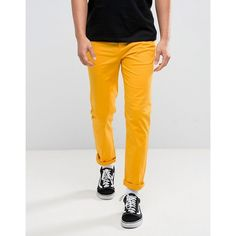 ASOS Slim Chinos In Yellow (1,795 INR) ❤ liked on Polyvore featuring men's fashion, men's clothing, men's pants, men's casual pants, yellow, asos mens pants, mens yellow chino pants, mens slim fit pants, mens chinos pants and mens slim pants