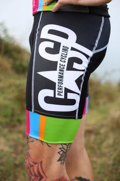 Cycling Bib Shorts, High quality chamois, Comfortable Bib mesh straps with custom CASP Print. Folded Lycra cuff for superior comfort.