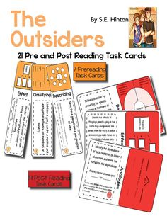 21 task cards. Use the unforgettable novel, The Outsiders, by S.E. Hinton, to teach your students how to closely analyze literature through the use of task cards. This lesson plan includes 7 pre reading task cards and 14 post reading task cards that revolve around Thinking Maps and require students to analyze character motivation, theme, conflict, point of view, and plot.