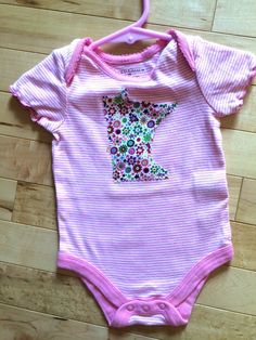 Minnesota Baby Pink Striped Onesie ~ Size 3-6 Months ~ Floral MN Appliqué ~ Faded Glory ~ One-of-a-Kind ~ Unique Gift for Cute MN Baby ~ by ArtThatCooks on Etsy