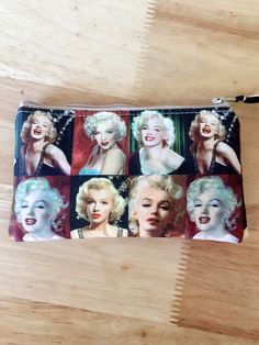 Marilyn Monroe zipper pouch, small coin purse, makeup bag, wristlet, Choose your style! by PopThree on Etsy https://www.etsy.com/listing/488884038/marilyn-monroe-zipper-pouch-small-coin