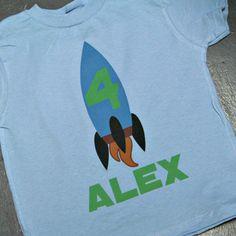 Custom personalized rocket or space shuttle Birthday shirt or onesie Sons Birthday, Birthday Shirts, Birthday Parties, Rocket Ship Party, Space Theme, Space Shuttle, Rockets, Onesies, T Shirts For Women