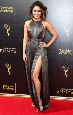 Vanessa Hudgens in a chrome high-slit halter dress