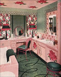 Green and pink were a common enough combination during the midcentury years, but only Armstrong seemed to come off with some wild designs like these oversized cabbage roses, pink cabinetry, and fuschia patio chairs in the bathroom. The roses even appear on the ceiling ... keep an eye on the ceiling in coming years!    Busy....but pretty