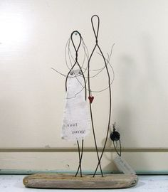Wedding Gift Wire Sculpture on Driftwood Rustic Anniversary Gift Mixed Media Art