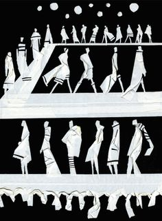 Runway Finale / Masking tape on black board /Fashion illustration / Carlos Aponte /2014