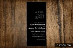 Modern Black and White Simple Wedding Invitations  by Classicology, $15.00