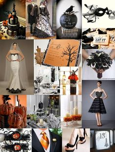 halloween themed wedding ideas |Love the pumpkins and black and white lillies