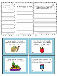 Here are 16 FUN Back to School Writing Prompts that will help you get to know your students! Includes BOTH worksheets and task cards!
