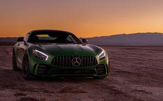 Download wallpapers 4k, Mercedes-AMG GT R, sunset, 2018 cars, desert, supercars, AMG, Mercedes