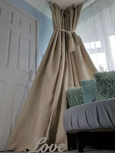"NEW! Heavy 160"" Wide 93"" Long Natural 100%Irish Linen Cotton Lined Bay Curtains"