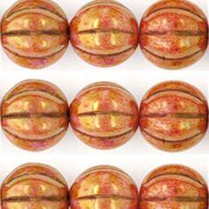 Eureka Crystal Beads - 8mm Melon Round ROSE/GOLD TOPAZ OPAQUE LUSTER Czech Glass Beads (25 pcs), $3.50 (http://www.eurekacrystalbeads.com/8mm-melon-round-rose-gold-topaz-opaque-luster-czech-glass-beads-25-pcs/)
